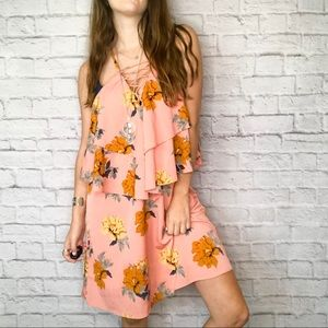 Entro pink mustard floral criss cross layer dress